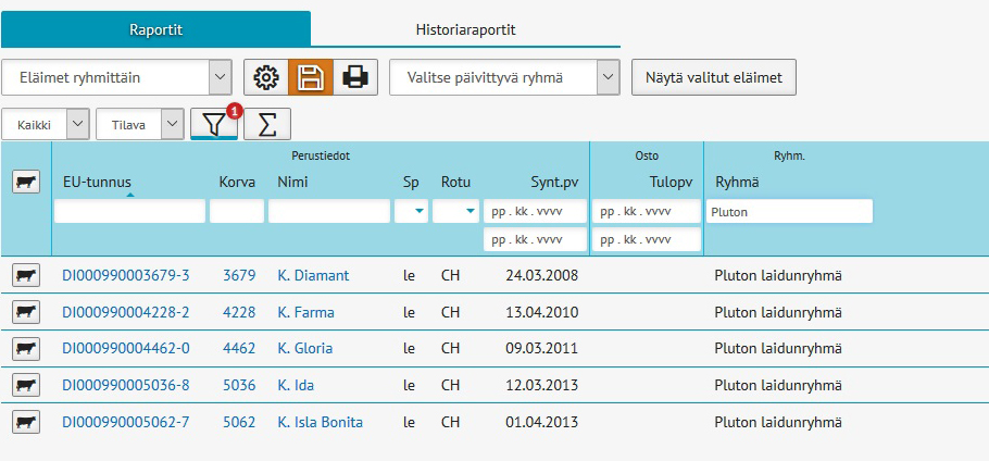 Laidunryhmät on helppo tulostaa Tapahtumat ja listaukset -sivulla.