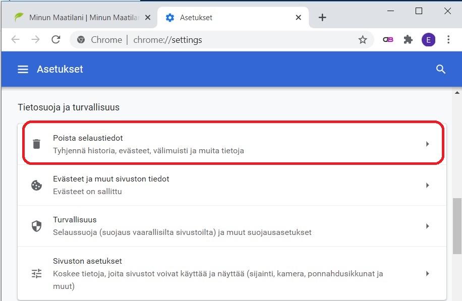 Välimuistin tyhjennys Google Chromessa