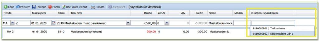 Kustannuspaikan lisääminen kirjanpidon vientiin WebWakassa
