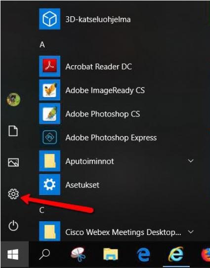 Windows10 Asetukset Kellonajan muodon muutos