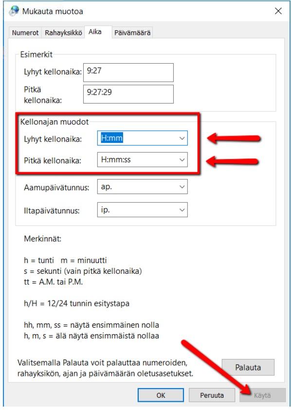 Windows10 Asetukset: Kellonajan muodon muutos