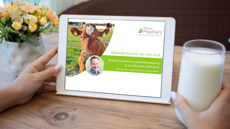 Maidontuotantomoduulin muokattava etusivu ja sovelluksen asetukset - webinaari 23.2.